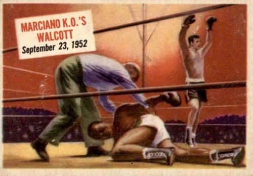 1954 Topps Scoops Marciano K.O.'s Walcott (#53)