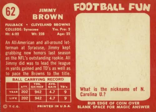1958 Topps Jim Brown Rookie Back