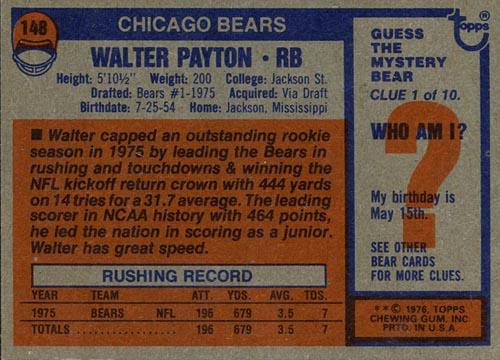 1976 Topps Walter Payton Rookie Card Back