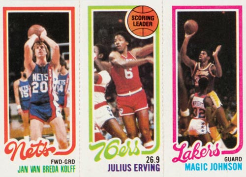 1980-81 Magic Johnson Rooke with Erving and Kolff