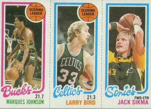 1980-81 Larry Bird Leader with Johnson and Sikma