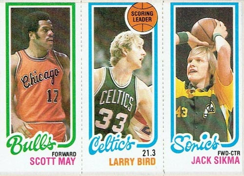 1980-81 Topps Larry Bird Leader with May and Sikma