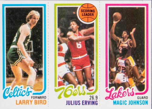 1980 Topps Larry Bird and Magic Johnson Rookie Card Front