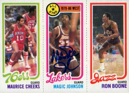 1980-81 Topps Magic Johnson Leader with Cheeks and Boone