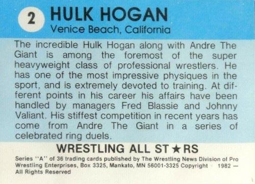 1982 Wrestling All Stars Hulk Hogan Rookie Back