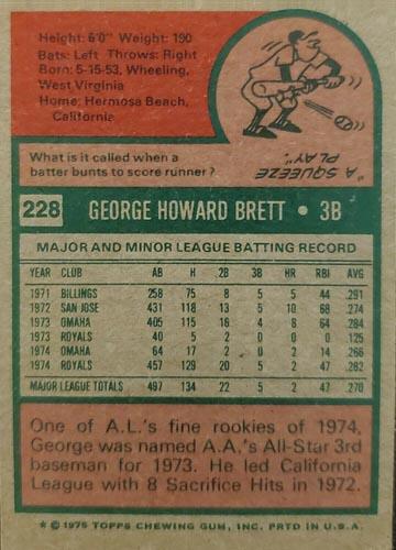 1975 Topps George Brett Rookie #228 Back