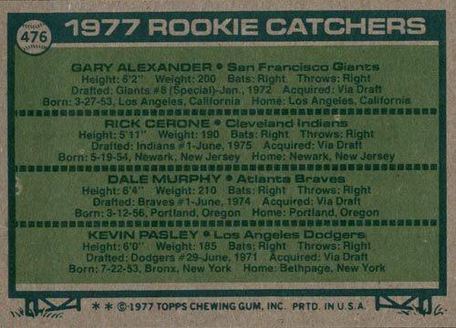 1977 Topps Dale Murphy Rookie Catchers #476 - Back