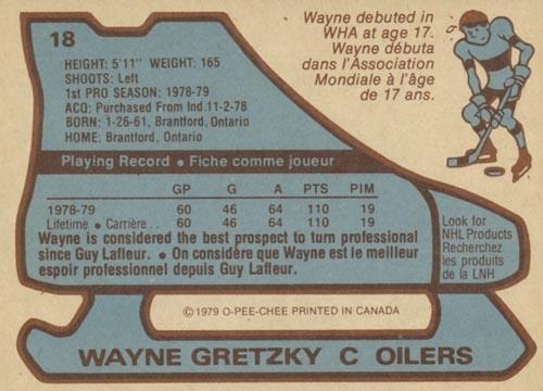 1979 Wayne Gretzky O-Pee-Chee Rookie Back