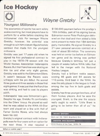 1977-79 Wayne Gretzky Sportscaster - Back