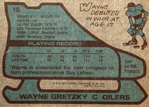 1979 Wayne Gretzky Topps Rookie Back