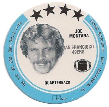 1981 Joe Montana Holsum Disc #24