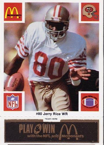 1986 McDonalds San Francisco Set Jerry Rice card