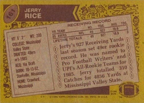 1986 Jerry Rice Topps Rookie Back